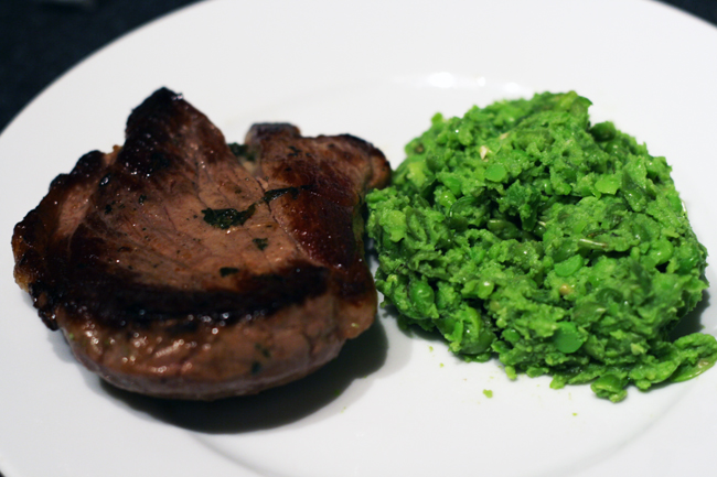 seared lamb and mushy peas recipe