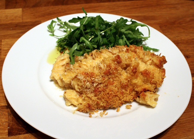 Pumpkin Mac and Cheese with Salad Recipe