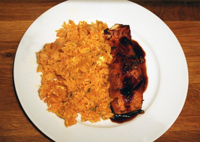 Kimchi Fried Rice with Salmon