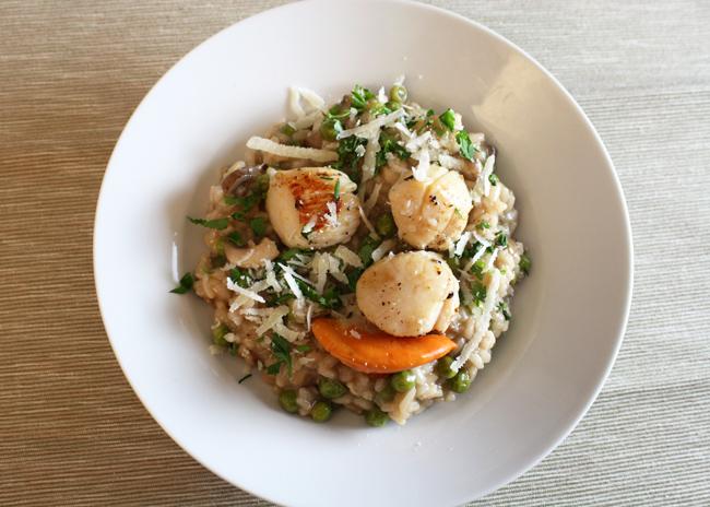 scallops and mushroom risotto