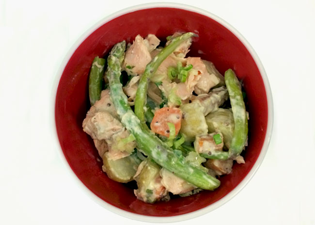 asparagus and potato salad with salmon