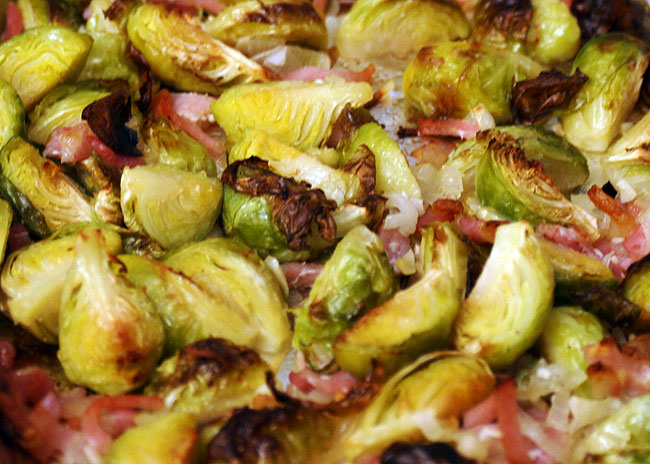 roasted brussels sprouts with bacon and shallots recipe