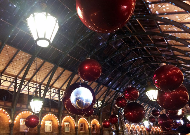 Christmas baubles in Covent Garden
