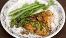 steamed asparagus, lemon chicken and mushrooms