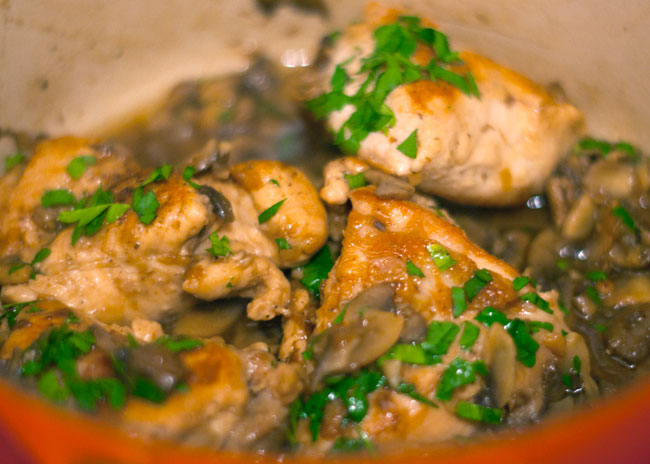 steamed asparagus, lemon chicken and mushrooms recipe