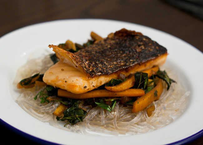 spicy soy salmon with noodles recipe